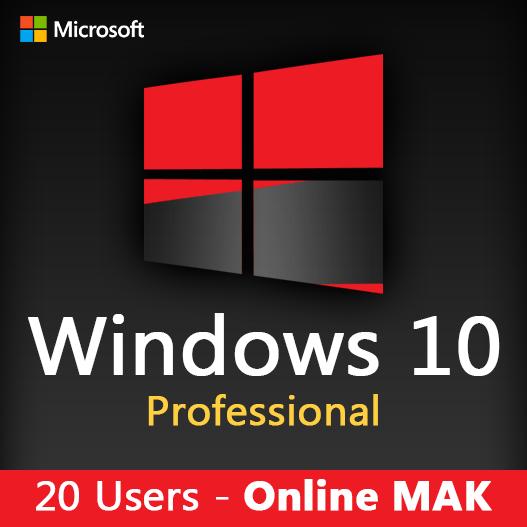 WINDOWS 10 PRO 20 Users license key online mak