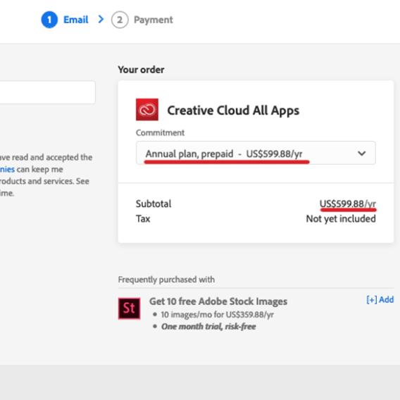 Adobe creative cloud Regular Price